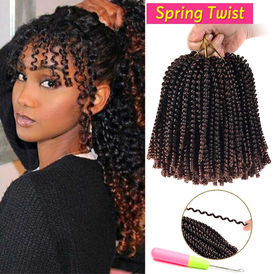 Pasja Twist włosy syntetyczne perwersyjne kręcone 8 Cal wiosna Twist warkocz nici/paczka do przedłużania włosów dla czarnych kobiet