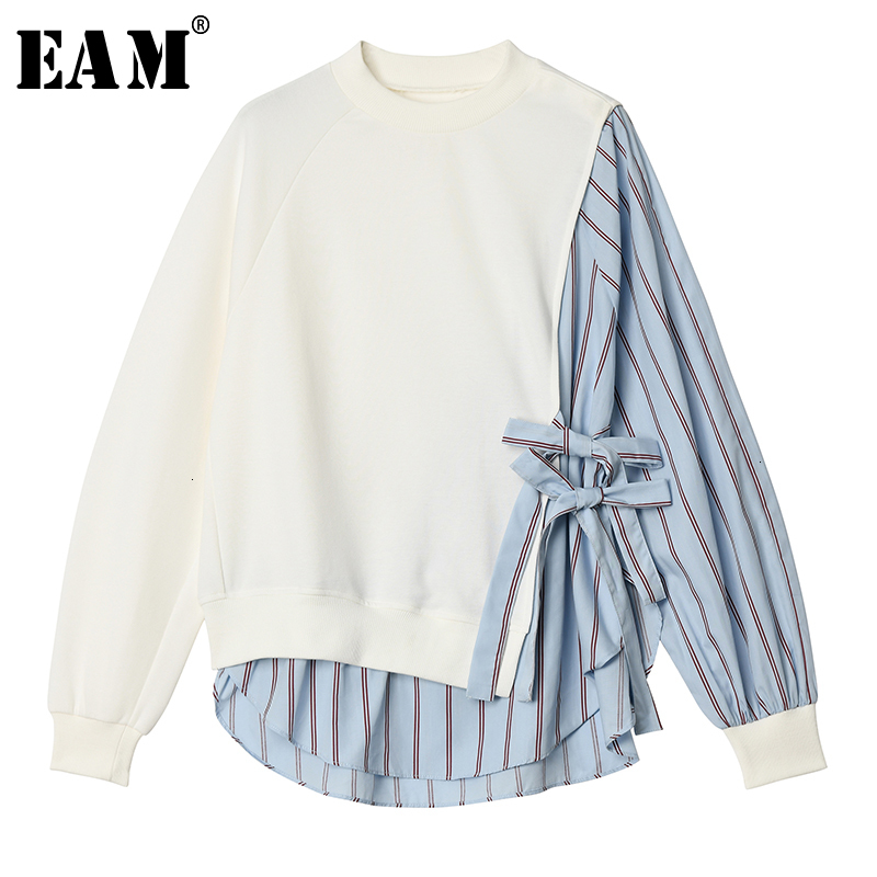 [EAM] Loose Fit Striped Split Joint Sweatshirt New Round Neck Long Sleeve Women Big Size Fashion Tide Autumn Winter 2019 1D609