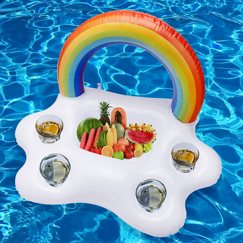 Inflatable Service Plate Rainbow Cloud Food Tray Inflatable Drink Floats Pool Party Ice Bar Water Float Coke Beer Cup Holder