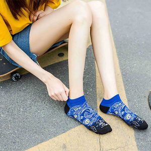 Image 4 - 3 ペア女性綿アートアンクルソックスプリントかわいいレトロ塗装ショートソックス夏カジュアルファッションハッピーバンゴッホ靴下