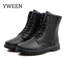 YWEEN New Men Leather Boots Lace Up Autumn Winter Shoes Male waterproof  British Fashion Mens