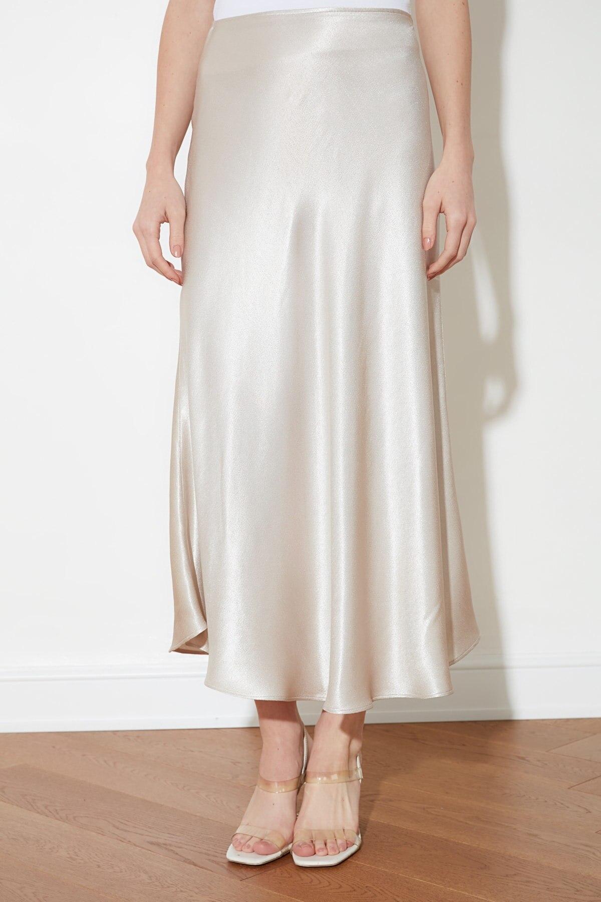 Trendyol Satin Midi Skirt TWOAW21ET0223 юбка faldas юбка с высокой талией faldas largas юбка летняя jupe longue femme 2021 Fashion