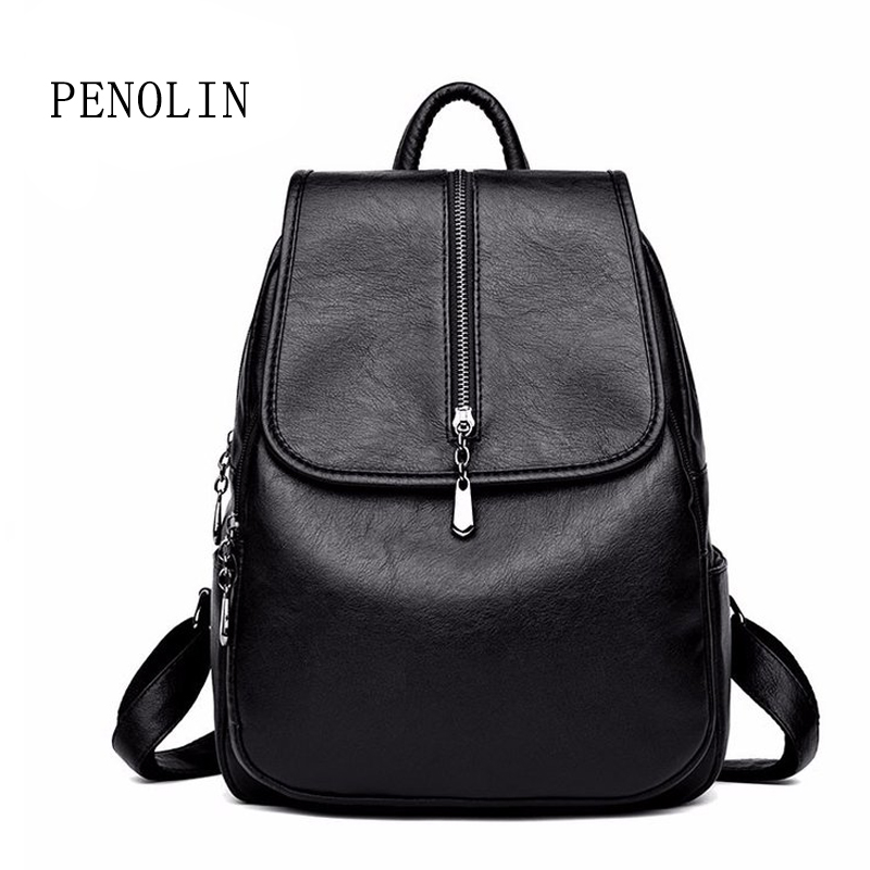 2018 Women Backpack High Quality Leisure Rucksack PU Leather Mochila Mother Vintage Bags Top-handle Backpacks Fashion Daypack