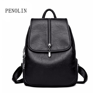 Image 1 - 2018 Women Backpack High Quality Leisure Rucksack PU Leather Mochila Mother Vintage Bags Top handle Backpacks Fashion Daypack