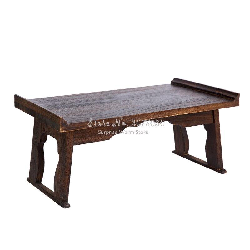 Mesa plegable mesita de té baja China pequeña mesa auxiliar de madera para té café antigua mesa de té de Gongfu 3 tamaños