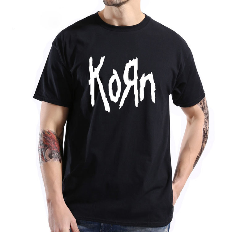 Free Shipping Mens T Shirts Fashion Short Sleeve Korn Rock Band Letter T Shirt Cotton High Street Tee Shirts Plus Size
