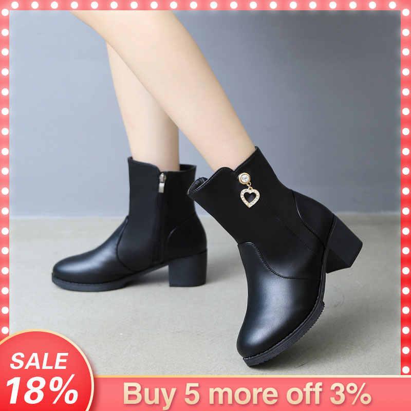 femininas chaud botas talons estilosas 2019q30 fermeture femme épais Eillysevens bottes bottes courtes hiver coeur cristal éclair chaussures W2E9DHIY