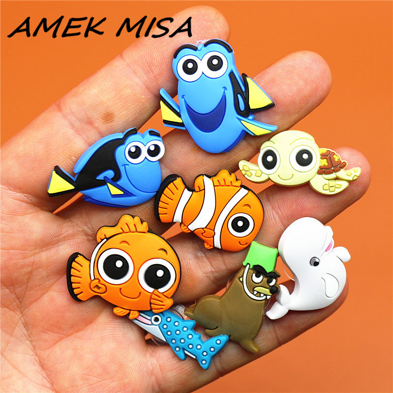 8pcs/Set PVC Finding Nemo Shoe Charms Cartoon Fish Turtle Seals Shoe Decorations Shoe Accessories Fit Croc JIBZ Party Kid's Gift