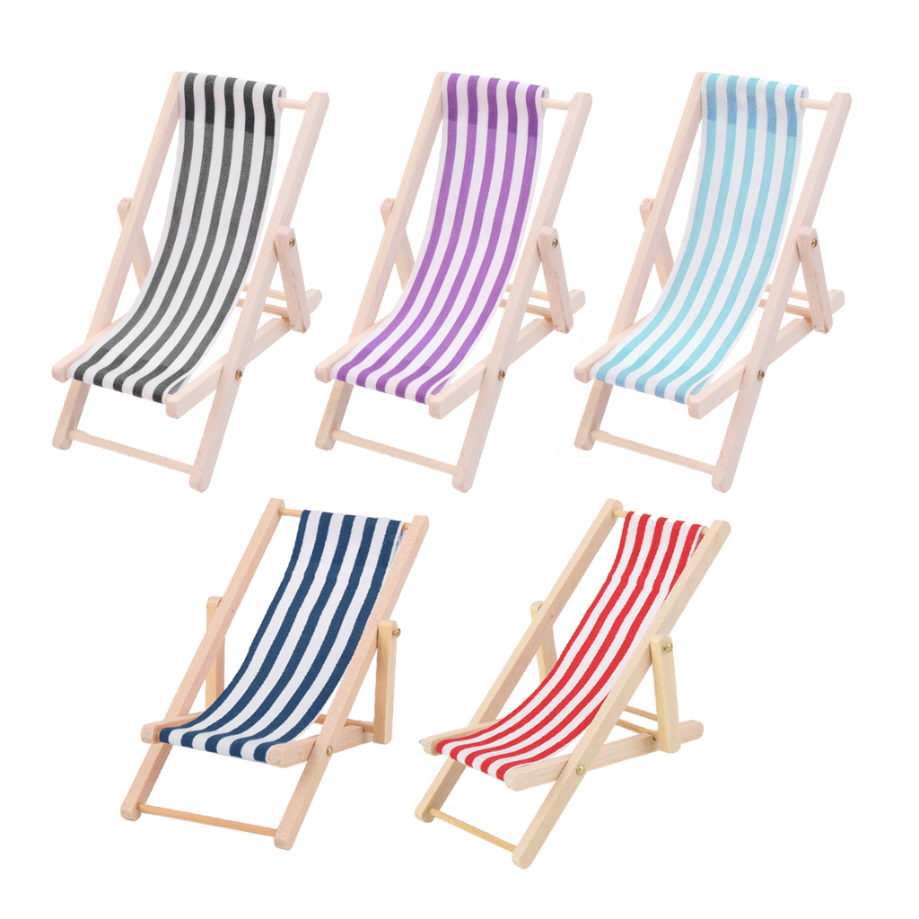 5pcs Striped Wooden Lounge Chair Deckchair For 1/12 Dollhouse Miniature Furniture Toys