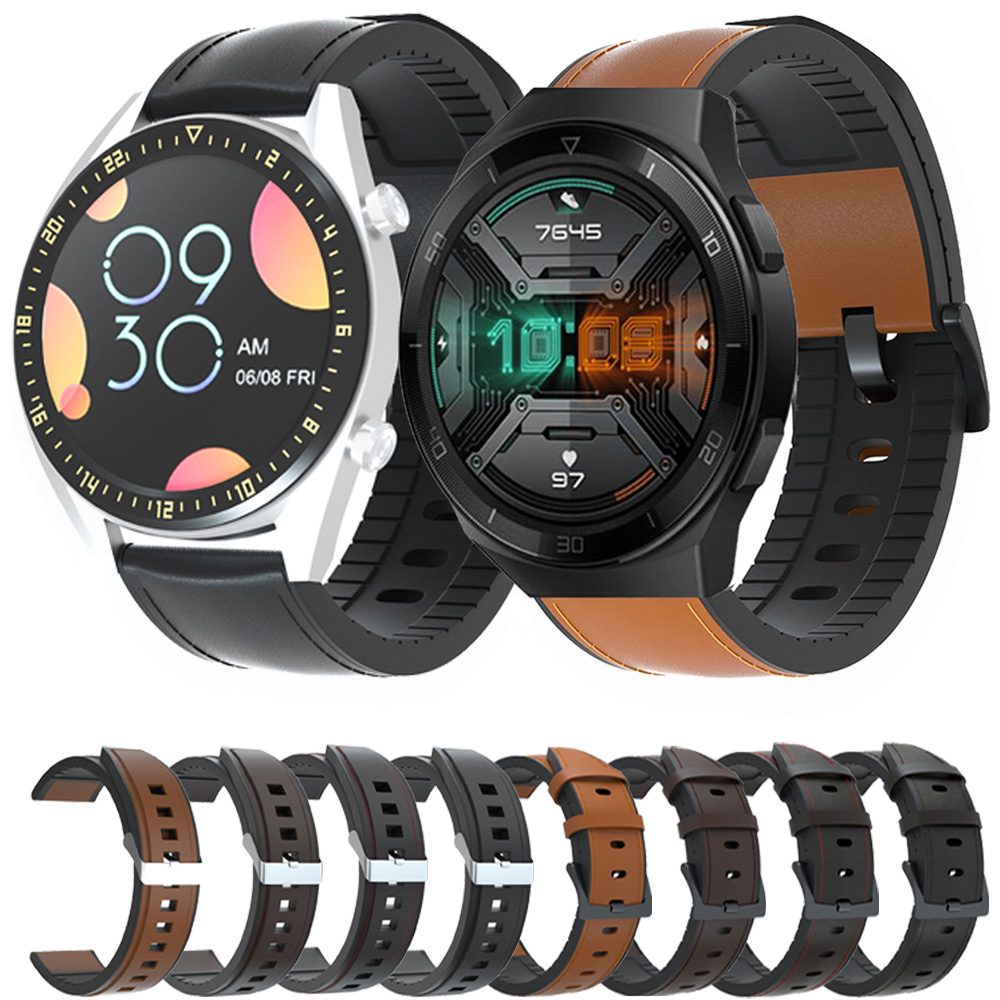 For Huawei Watch GT 2e 46mm Genuine Leather <font><b>Band</b></font> <font><b>Silicone</b></font> <font><b>Bracelet</b></font> Watchbands <font><b>20mm</b></font> 22mm Watch Strap For Huawei gt 2 42mm 46mm image