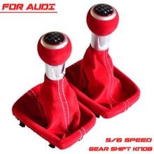 Car Styling Nero Rosso 5/6 Velocità Pomello Del Cambio In Pelle Scamosciata Completo Ghetta boot copertura Per Audi A3 S3 2001 2002 2003