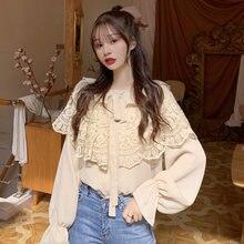 Женская блузка с оборками на воротнике белая абрикосовая шифоновая