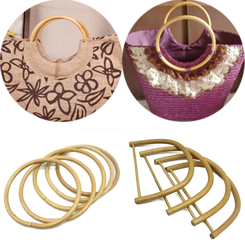 1PC Rattan&Wood Purse Frame D / Round Shape Bamboo Bag Handle Handmade DIY Replacement Obag Handles DIY Tote Purse Making Bag