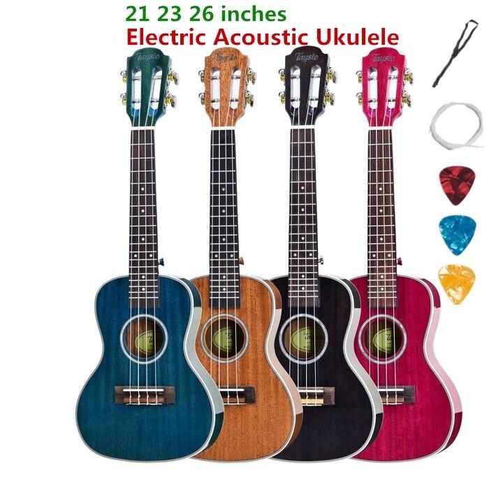 Ukulélé acoustique électrique Concert ténor 23 26 pouces Mini guitare 4 cordes Ukelele Guitarra acajou coloré Pick Up Highgloss