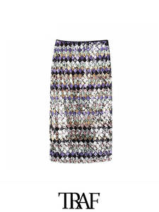 TRAF Midi Skirt Sequin High-Waist-Side Vintage Casual Fashion Women Mujer Zipper Faldas