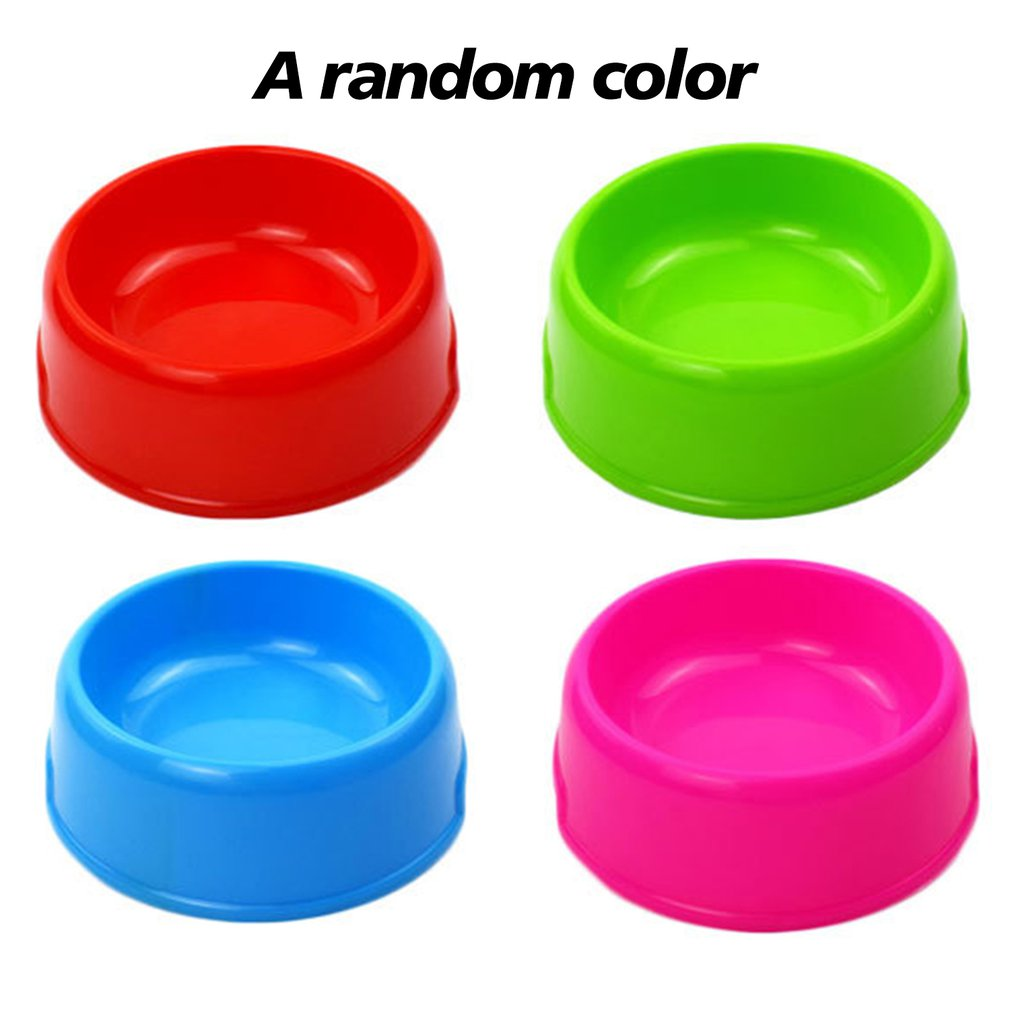 Pet Bowl Plastic Thick Candy Color Single Bowl Food Bowl Puppy Cat Feeding Water Dog Bowl Portable Practical Bowl