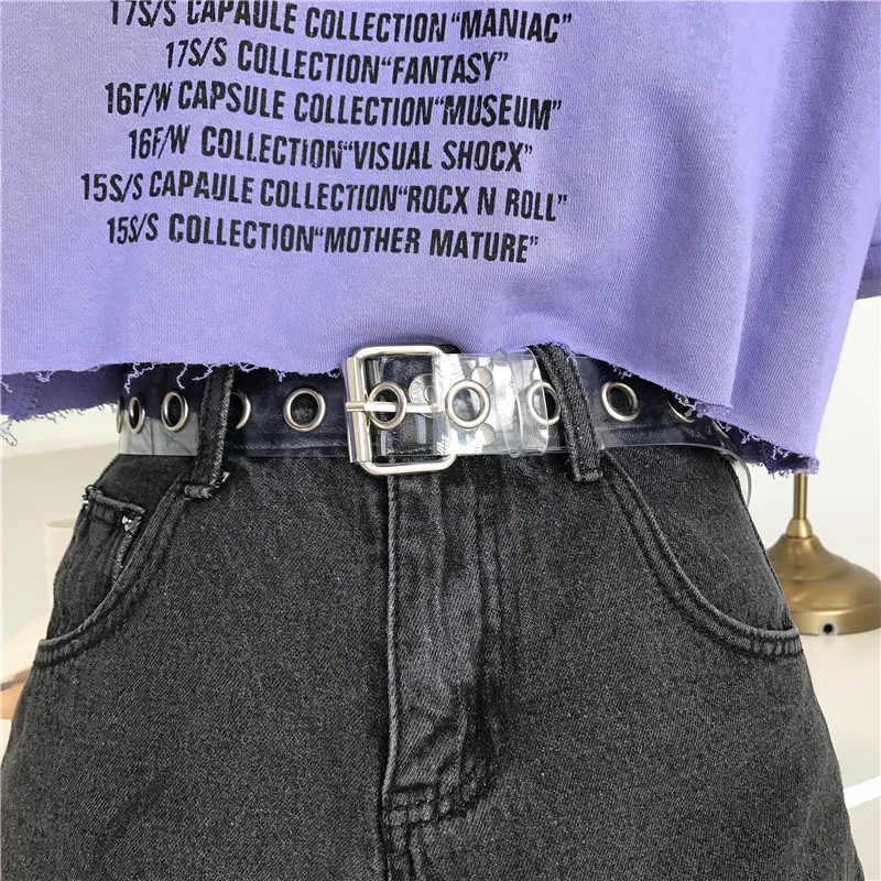 Donne Trasparente Pieno di Anello di Tenuta Femminile Della Cinghia Disigner Punk Rivetto Spille Fibbia Vita Resina di Plastica PVC Pantaloni Dei Jeans Cinture di Trasparente
