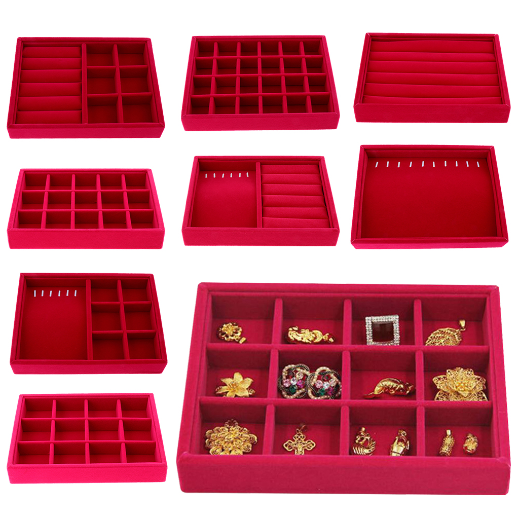 Velvet Earrings Jewelry Tray Drawer Organizer Stackable Jewelry Display Tray Necklace Ring Storage Packaging Showcase