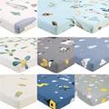 100% полиэстер кроватку Простынь из мягкой дышащей ткани матрас для детской кровати крышка с мотивами из мультфильмов, для новорожденных пос...