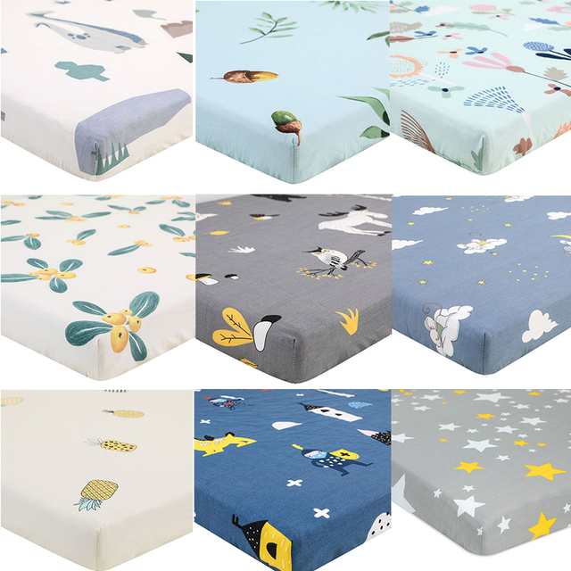 100% Polyester Crib Fitted Sheet Soft Breathable Baby Bed Mattress Cover Cartoon Newborn Bedding For Cot Size 130*70cm