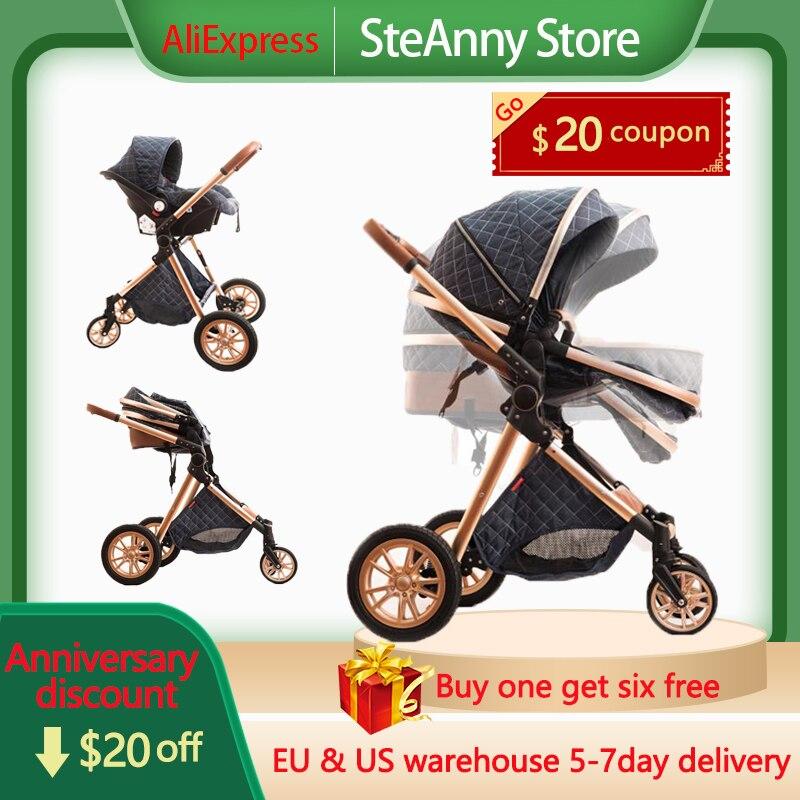 Neue Artikel Kostenloser Versand Baby Kinderwagen Schnelles Verschiffen Hohe Landschaft Wagen 2 in 1 12 aufträge