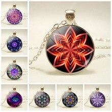 Mandala Flower Sacred Geometry Art Painting Pendant Necklace Buddha Healing Statement Meditation Jewelry for Women