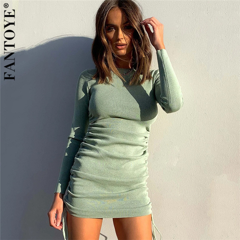 FANTOYE Cotton Full Sleeve Dress 2020 Autumn New Women Fold Ruched Drawstring Slim Mini Dress Casual Streetwear O-Neck Dresses