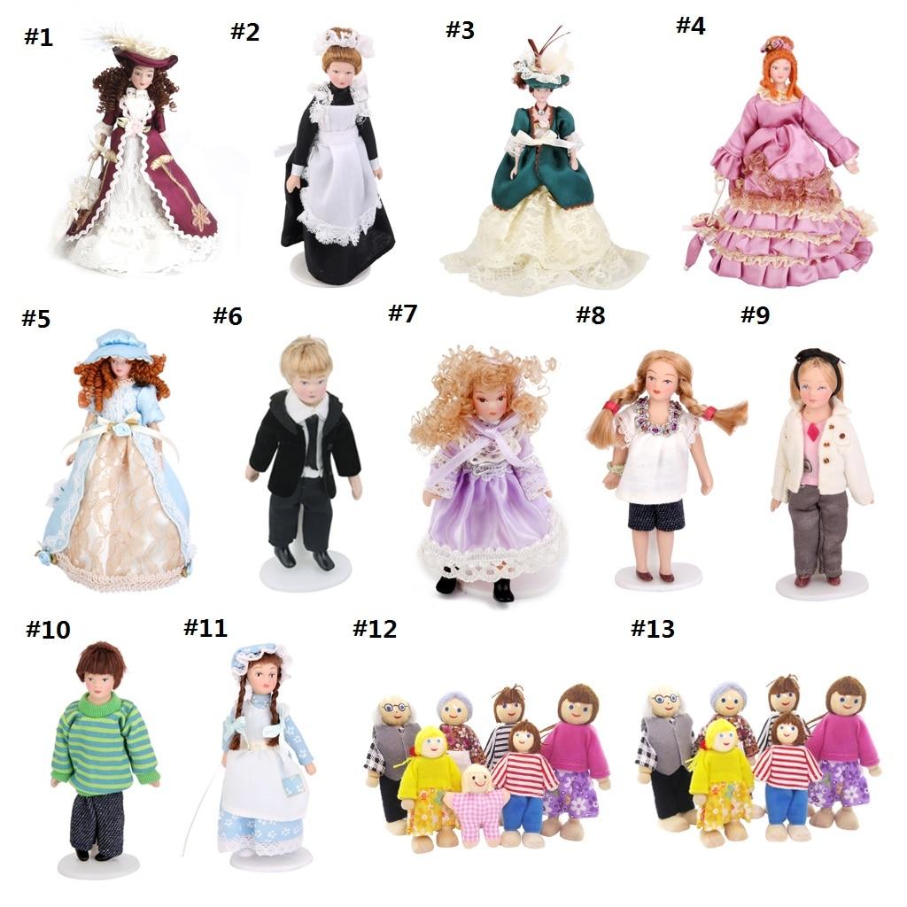 7 stück Holz Poseable Puppe Familie für Puppenhaus Miniaturen und Zubehör-Maßstab 1:12