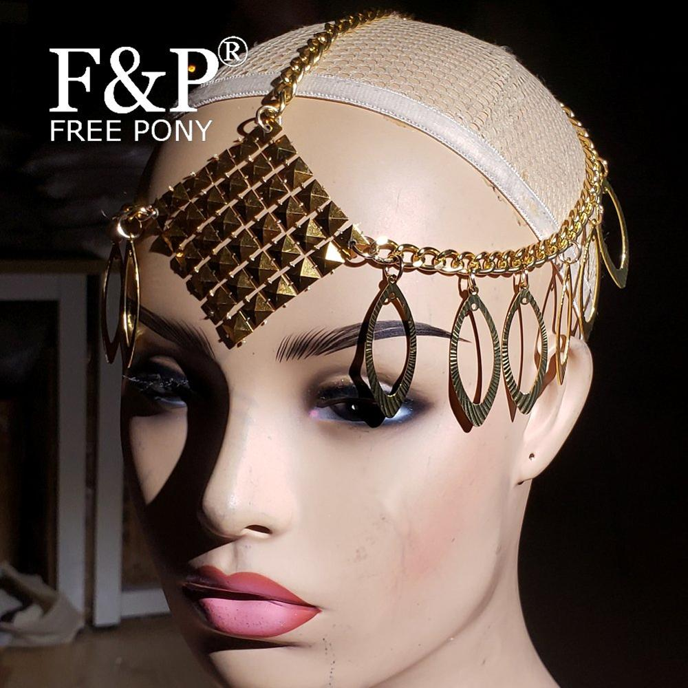 Burning Man Festival Gold Head Chain Headpiece Headdress Carnival Costume Gogo Dancer Halloween Accessories