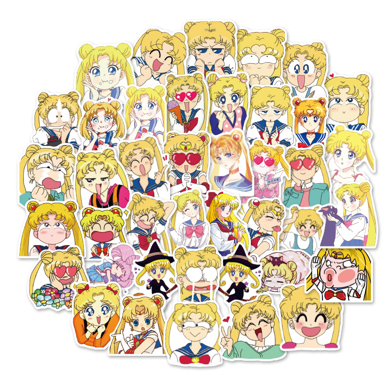 40pcs Mini Style Sailor Moon Stickers Decal For Snowboard Laptop Luggage Phone Waterproof Fridge Sticker Gifts For Kids F5