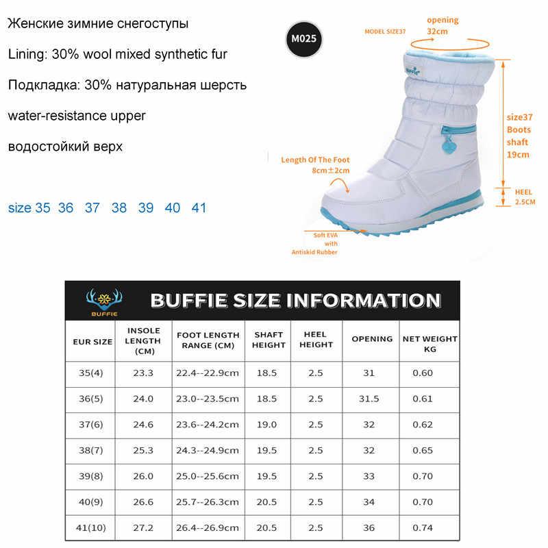 Kışlık botlar kadın sıcak ayakkabı kar botu % 30% doğal yün ayakkabı beyaz renk BUFFIE 2019 büyük boy fermuar orta buzağı ücretsiz kargo
