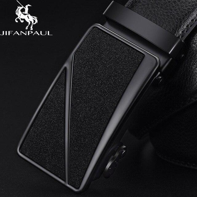 Бренд JIFANPAUL, мужской ремень из натуральной кожи, черный, модный, сплав, люкс класс, автоматическая пряжка, Молодежный кожаный Простой деловой - Цвет: JF03