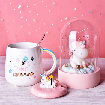 Cute Unicorn Coffee Mug with 3D Lid and Spoon Ceramic Tea Water Cup Gift for Women Girls White 450ml 1