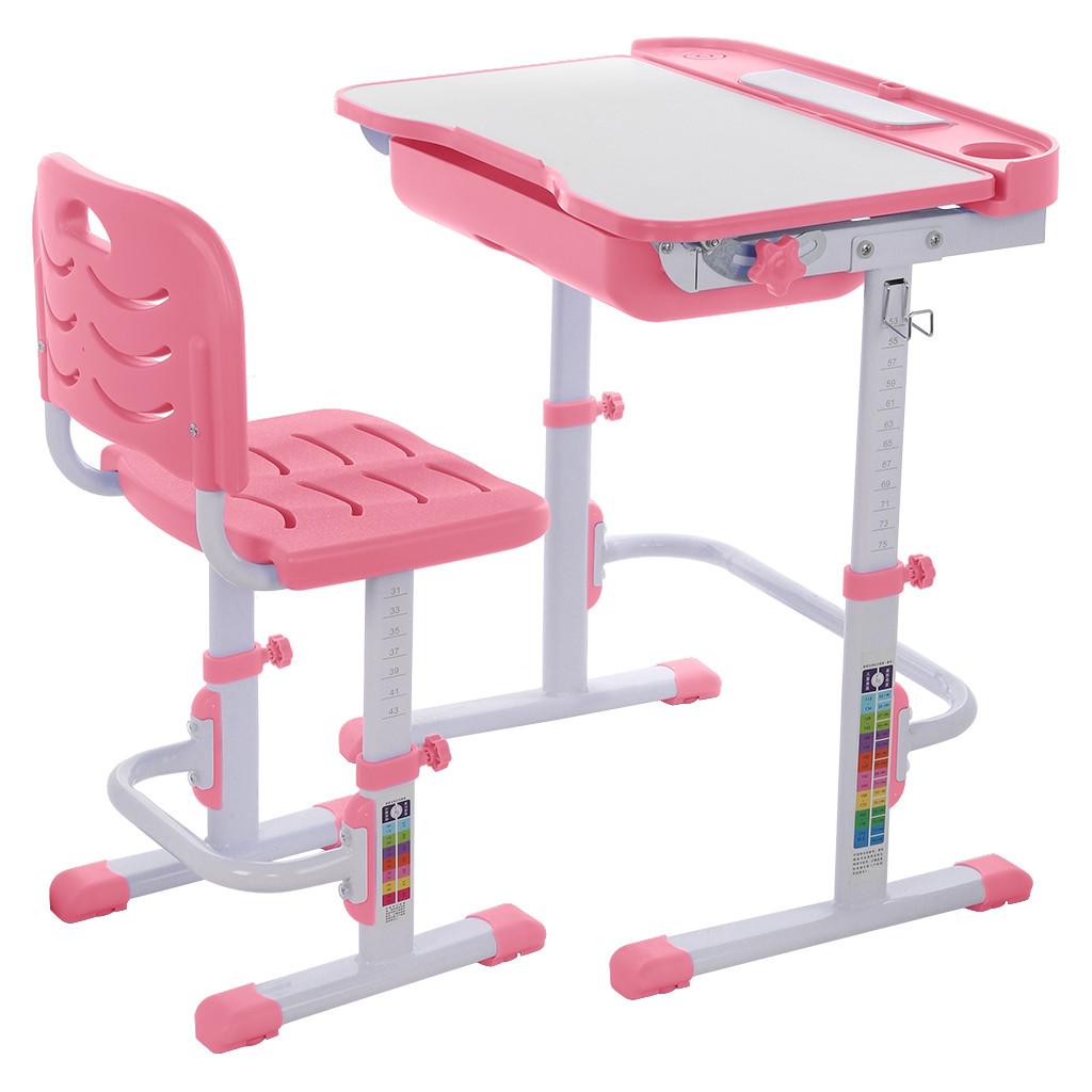 Activity Normal Metal Computer Height Adjustable Children Study Desk And Chair Set Pull Out Drawer With Tilted Desktop Bedroom #
