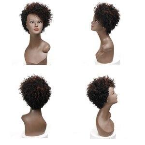 Image 2 - Sleek Perruque de cheveux humains crépue bouclée Perruque brésilienne de cheveux humains Perruque pour les femmes noires Perruque de bouclée courte Bob Pixie wig humain hair livraison gratuite