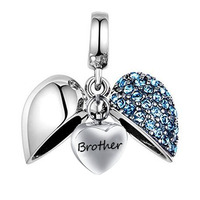 Foreign Trade Accessories Anniversary Brother Hair Heart Shape Diamond Wing Cremation Urn Necklace Funeral Pendant