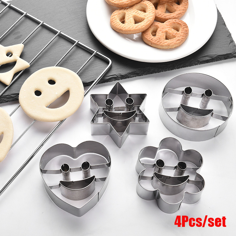 4Pcs/set Heart Shape Star Round Smile Face Cookie Biscuit Mould Cake Baking Molds Fruit and Vegetable Bread Plasticine Cutter