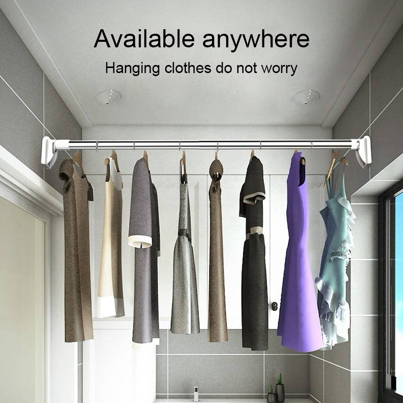 Telescopically Adjustable Curtain Bar Wardrobe Clothes Rail Towel Hanging Bar Shower Curtain Rod Stainless Steel Drying Rack