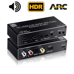 HDMI 2.0B Switcher HDR HDMI ARC 2X1 HDMI 2.0 Switch Splitter toslink audio with HDMI 2.0 audio splitter converter function