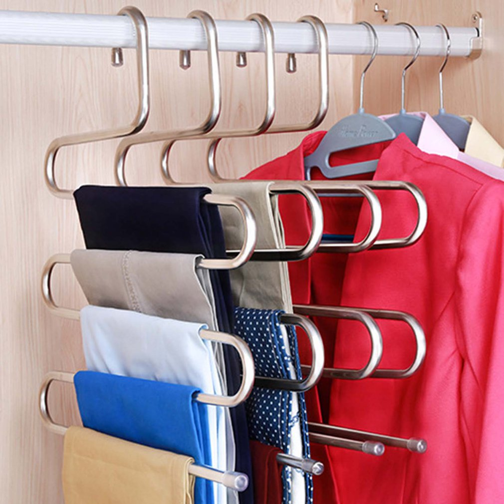 5 layers S Shape MultiFunctional Clothes Hangers Pants Storage Hangers Cloth Rack Multilayer Storage Cloth Hanger|Drying Racks| |  - title=