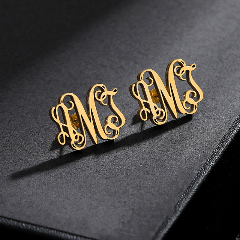 Custom Initial Earings Fashion Jewelry Stainless Steel Earing Personalized Monogram Name Stud Earrings For Women Aretes De Mujer