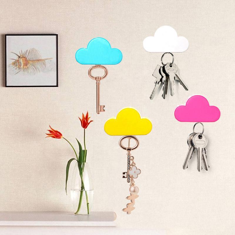 NEW Creative Home Storage Holder Key Holder Crochet Pink Yellow Blue Cloud Shape Magnets Wall Key Holder Home Bedroom Decoration
