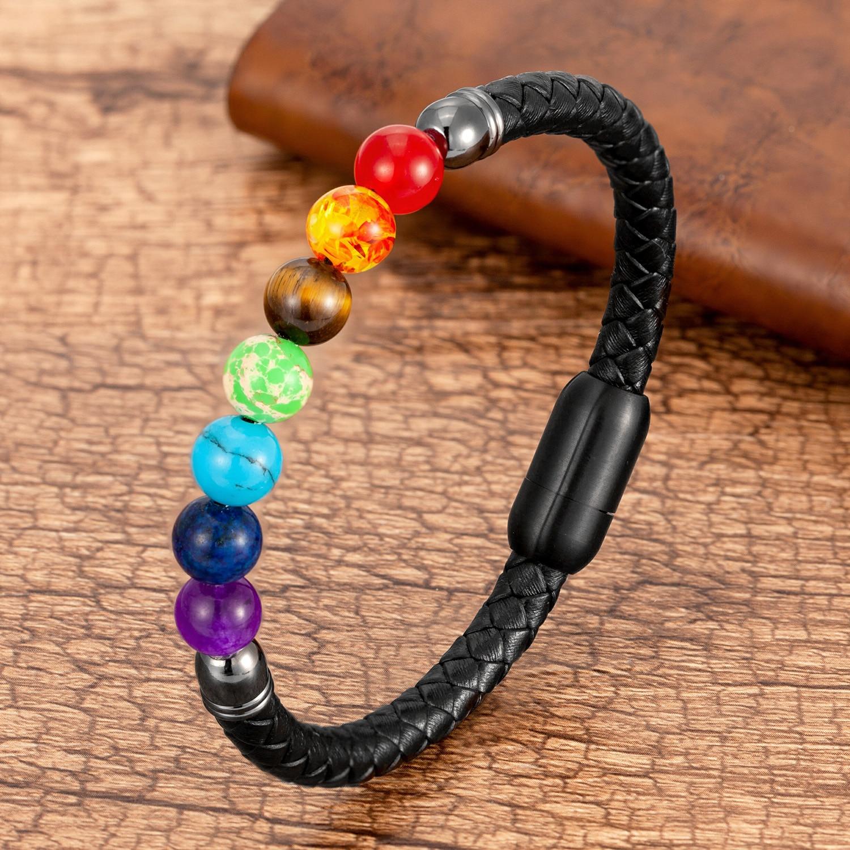 Chakra rainbow natural stone bead bracelet