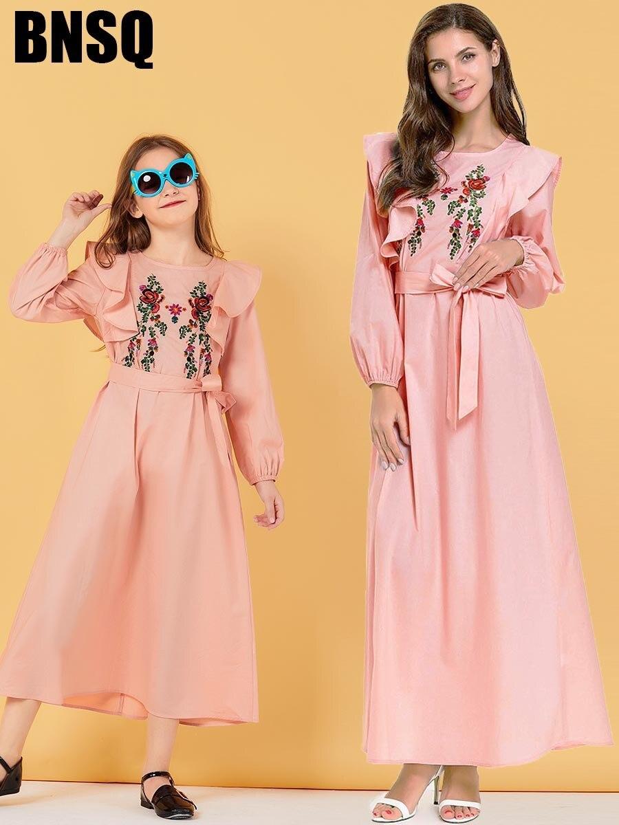 Embroidery Ruffles Maxi Dress Muslim Abaya Belt Children's Wear Family Matching Outfits Kimono Long Robes Eid Ramadan Islamic