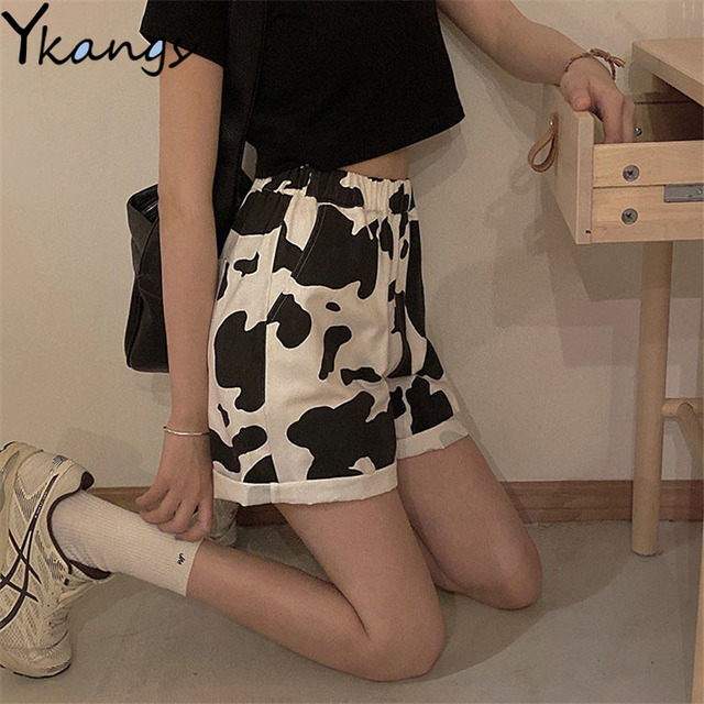 Harajuku Korean Style Streetwear Cow Print Sport Shorts Joggers Women Sweatpants Straight Elastic High Waist Wide Leg Shorts New 1