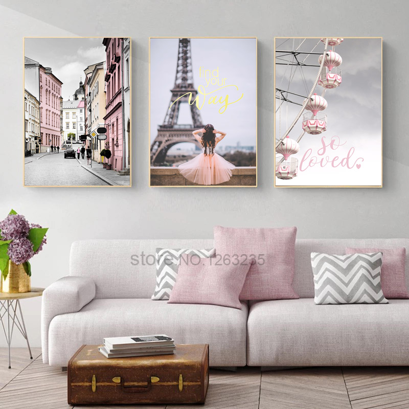 <font><b>Paris</b></font> Tower Nordic Poster Love Wall Art Canvas Painting Quadro Wall Pictures For Living Room Picture Cuadros Decoracion Unframed image