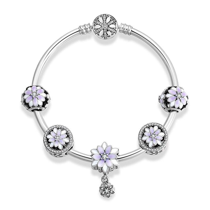 925 argent Sterling glamour fleurs pendentifs Bracelets avec perles en émail violet breloques mode femme Bracelet bijoux de luxe - 2