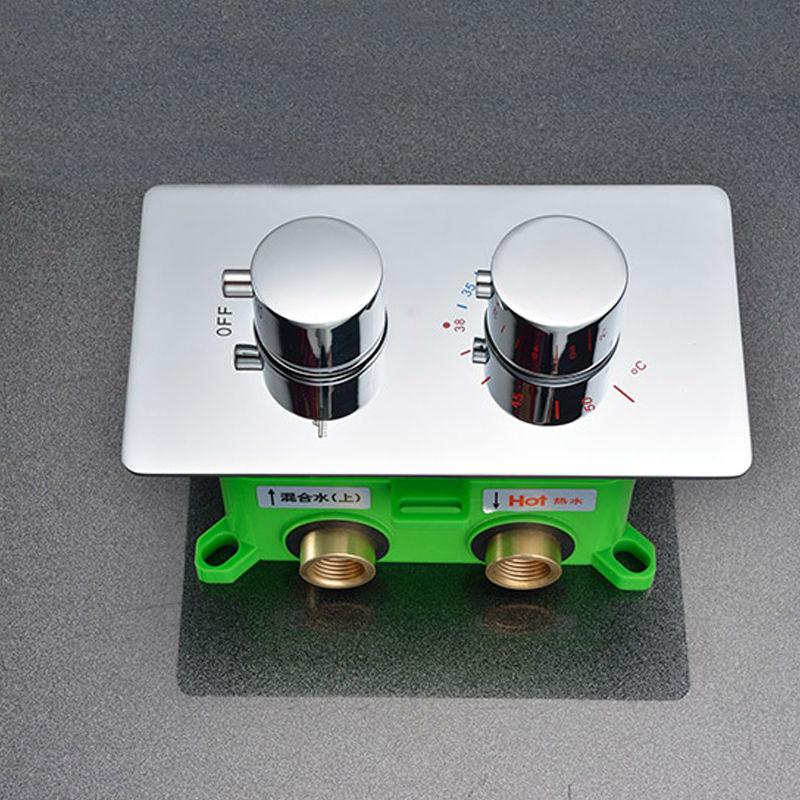 Bathroom High Flow Thermostatic Shower Mixer Diverter Valve - Round 2 Way Mixer Faucet Cartridges for shower head 11-102-R2