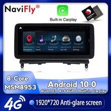 NaviFly – autoradio Android 10, Navigation GPS, lecteur multimédia, dvd, NTG 2008, pour voiture Benz classe C W204 C180 C200 C220 C300 2010 – 4.0