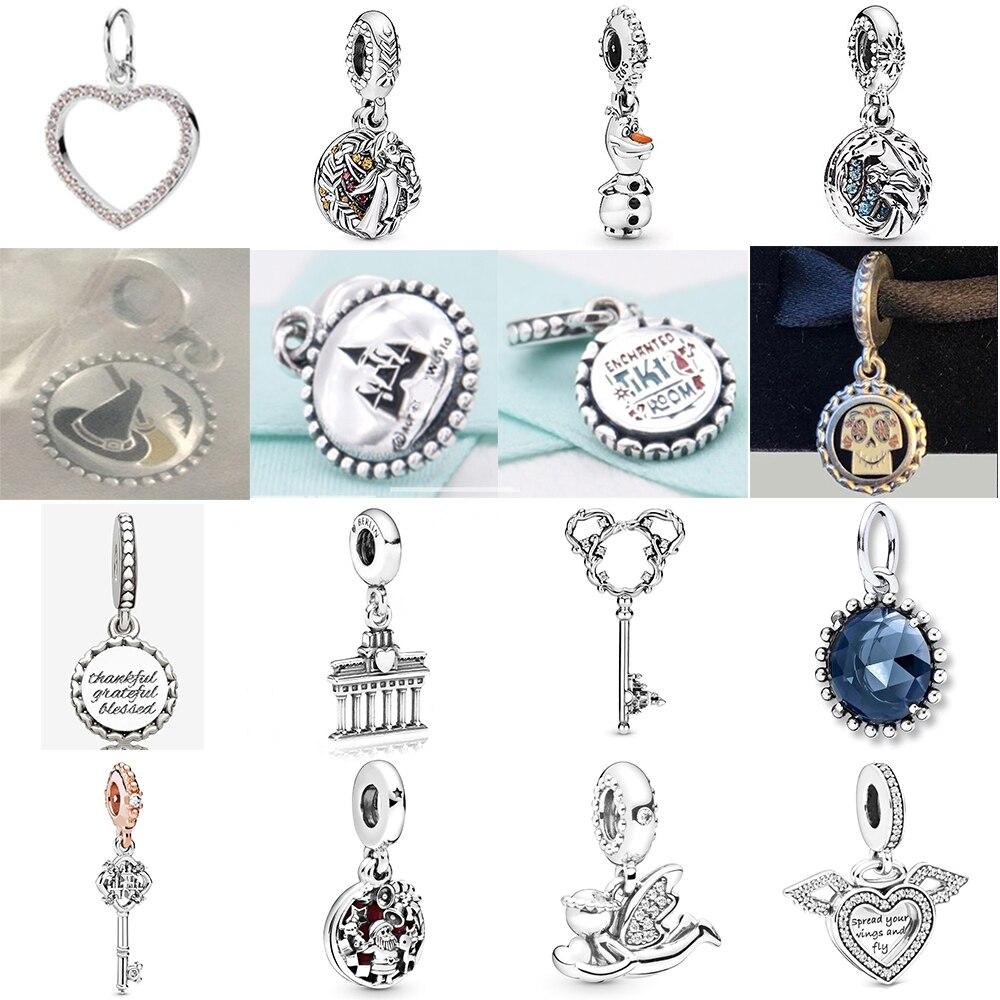 NEW 2019 100% 925 Sterling Silver Key Winter Frozen Olaf Anna Dangle Charm Pendant Fit DIY Original Women Bracelet Jewelry Gift
